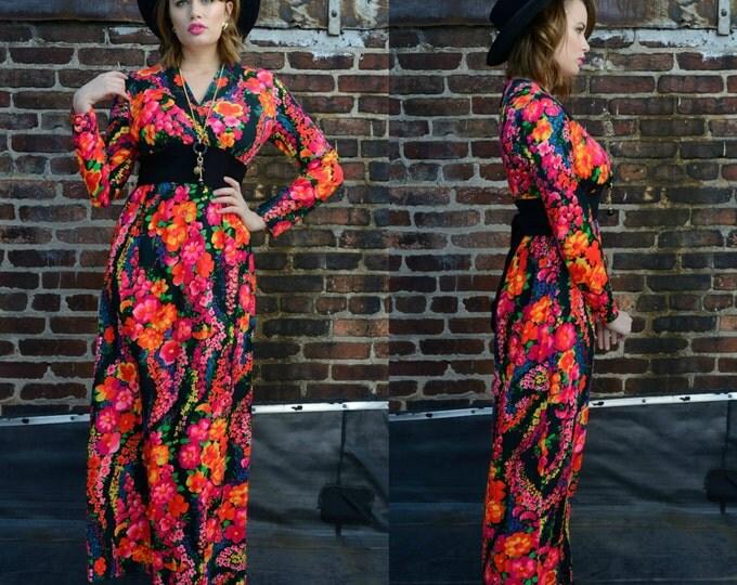 Vintage 70s Neon Floral Maxi Dress