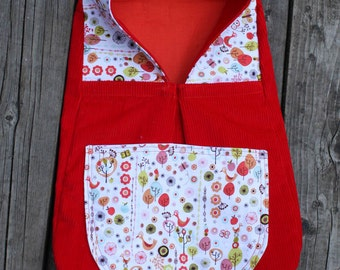 "SALE 30% OFF! 12-16"" Waldorf Doll Papoose Backpack Carrier, Red and White and Orange Birds and Flowers"