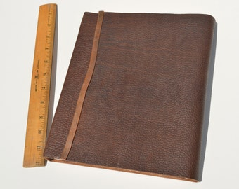 Large Bound Leather Planner Journal Handmade Notebook Copper Monogram (452C)
