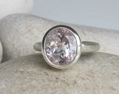 Oval Promise Ring- Bridal Ring- Morganite Ring- Unique Engagement Ring- Statement Ring- Proposal Ring- Anniversary Ring- Commitment Ring