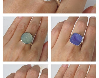 Purple Druzy Ring All Sizes Custom Sizing Size 9 Size 10
