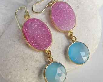 Boho Long Gold Druzy Earring Real Druzy Double Drop Earring Festival Colorful Coachella Gypsy Earring Pink Druzy Blue Gemstone Earring