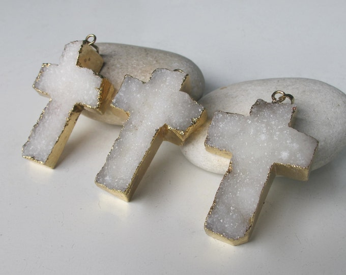 White Druzy Cross Pendant- Mens Cross Statement Necklace- Large Stone Chunky Necklace