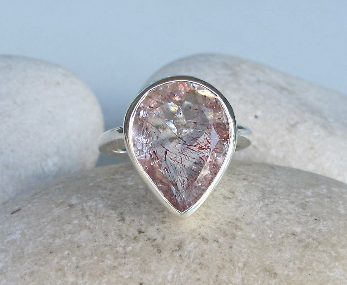 unique gemstone engagement ring pear shaped promise ring for