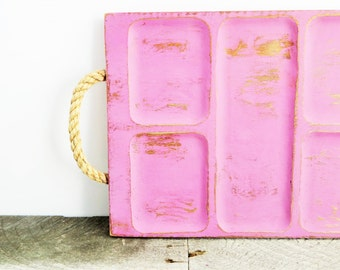 SALE - Wooden Divided Tray - Lilac Pink - Jewelry Tray - Organization