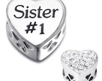 925 Sterling Silver SISTER Charm Bead with Clear Cz Fits  All European Charm Bracelets