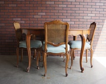 French Provincial Dining Set / Cane Back Dining Chairs / Country French/French Provincial Furniture Pierre Deux Style / Kindel Dining Set