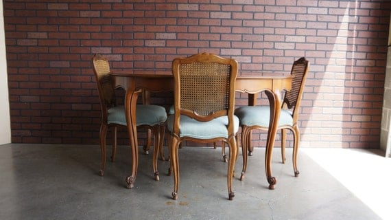 French Provincial Dining Set Cane Back Dining Chairs