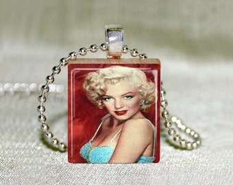 "Scrabble Jewelry - Marilyn Monroe 6 - Choose Pendant or Necklace - Marilyn Jewelry - Blonde Bombshell - Art - Charm 18"" Chain"