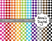 "Checker Digital Papers - Matching Solids Included - 30 Papers - 8.5"" x 11"" - Instant Download - Commercial Use (047)"
