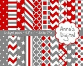 "Red and Gray Digital Papers - Matching Solids Included - 22 Papers - 8.5"" x 11"" - Instant Download - Commercial Use (164)"
