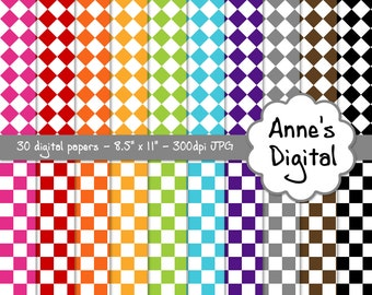 """Checker Digital Papers - Matching Solids Included - 30 Papers - 8.5"""" x 11"""" - Instant Download - Commercial Use (047)"""