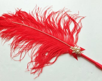 Jumbo Red Ostrich Feather Pen with Pearl Brooch / Red Feather Pen/ Wedding Signing Pen / Guest Book Pen / Wedding Reception Accessories