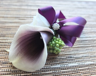 Wrist Corsages, Purple and White Calla Lily Corsage, Plum Calla Lily with purple ribbons on pearl bracelet