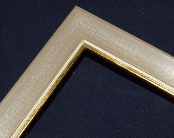 2 1/2 x 3 1/2 ~ Ready to Ship Picture Frame ~ Gray ~ Gold and White inner lip ~ Thin Moulding ~ 1/2 inch x 1/2 inch x 1/4 inch deep