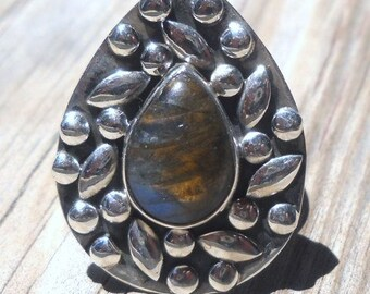 Labradorite Ring 925 Sterling Silver  Size 8.75