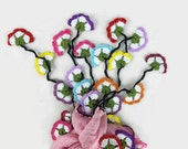 Pink Silk Scarflette,  Silk foulard , Turkish oya Scarf, Womens Neck Scarf, Crochet Flower scarf, Gift ideas for Her, Boho Chic