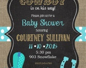 50 Cowboy Baby Shower Invitations with envelopes-western -any colors