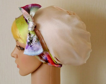 Womens satin headscarf, silky tichel, multifunctional headcovering, sleeping bonnet