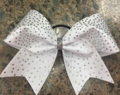 """3"""", 3 inch cheer cheerleader bow-crisp white  with a scattered rhinestone pattern"""