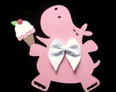 Pink Hippo with Ice Cream Cone Card - Hippo Shaped Card - Pink Hippo Card - Birthday Card - Kids Cards - Animal Shaped Cards