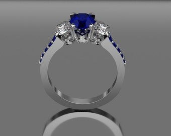 14 KT White Gold Three stone Sapphire Ring With Accent Stones