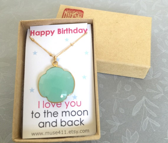 Birthday Gift & Card Aqua Necklace Four Leaf Clover By Muse411