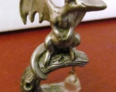 VALENTINESALE Miniature Pewter Dragon with hanging Crystal