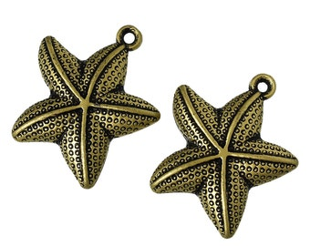 5 pieces Large ABS Antique Bronze Starfish Charm