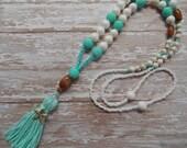 BOHO Tassel Necklace, Long Neon Sea Green Tassel Necklace,