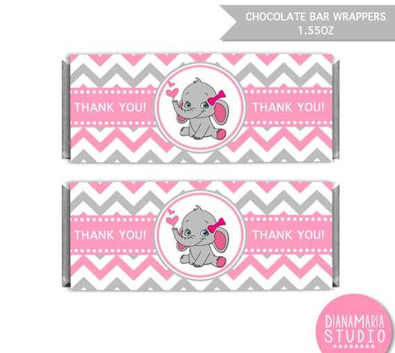 candy bar wrappers template for baby shower printable free - chocolate bar wrappers elephant girl baby shower printable