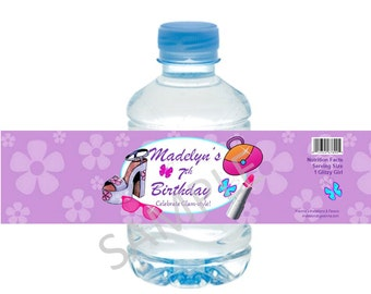 Glamour / Spa / Diva Water Bottle Label/Wrappers - for Girl Spa Birthday - Glitzy Birthday, Glamour Make Up Party