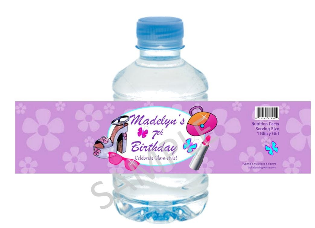 Glamour / Spa / Diva Water Bottle Label/Wrappers for Girl