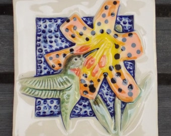 Hand Made Hummingbird  and Lily Tile,  Ready to Ship