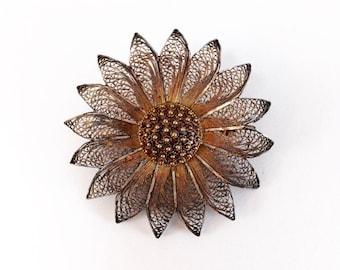 Vintage Silver Wire Filigree Sunflower Flower Pin Brooch