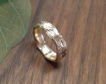 14K Gold Grapevine Bark Twig Ring, Gold Twig Ring, Gold Twig Wedding Band