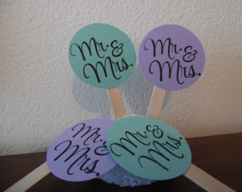 Mr and Mrs Cupcake Toppers - Bridal Shower Cupcake Toppers - Wedding Shower Toppers - Wedding Cucpake Toppers