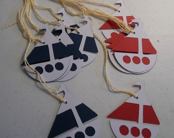 Nautical Party Favor Tags- Sailboat Favor Bag Tags- Nautical Birthday Party Favors