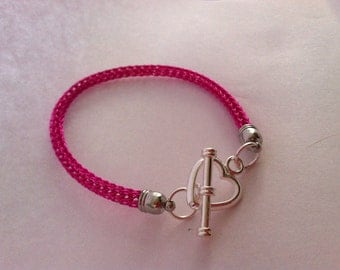 Pink Viking Knit Bracelet