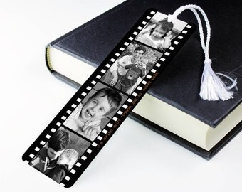 Personalised Photo Bookmark - Metal Book Mark Page - Photograph Film Reel
