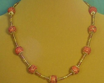"""Glistening 18""""  Carnival Glass and Berries Necklace - N298"""