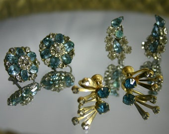 Vintage jewelry repair lot blue rhinestone earrings