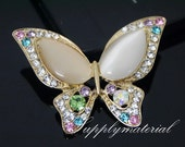 1PCS Colorful Crystal Gem Butterfly Flatback Alloy jewelry Accessories materials supplies