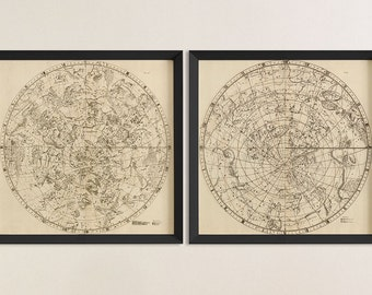 Old Constellation Map Art Print 1729 Antique Map Archival Reproduction - Northern and Southern Hemispheres - Set of 2 Prints or Individually