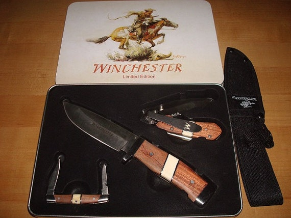 Winchester Limited Edition Three Knife Set With Tin And Sheath