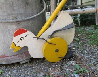 Vintage Folk Art Duck Push Toy