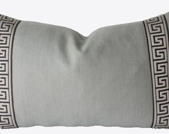 Decorative, Greek Key, Grey Trim,  Aqua Linen Pillow Cover, 12x20, 12x22 Lumbar, Throw Pillow