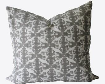 Decorative Designer Grey Abstract Ikat, 18x18, 20x20, 22x22 or Lumbar Throw Pillow