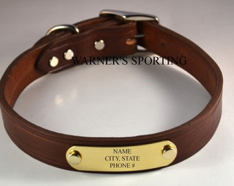 Warner Cumberland Brand leather dog collar with free brass id tag USA