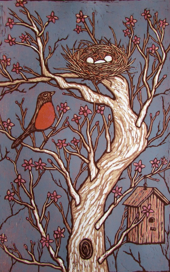 Spring Robin, a hand carved and printed woodcut